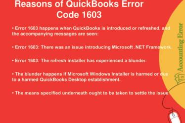 Quickbooks Error Code 1603